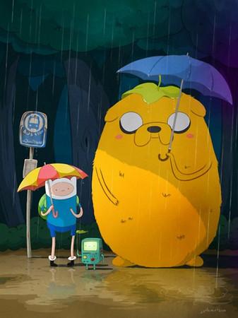 恶搞龙猫经典撑伞场景