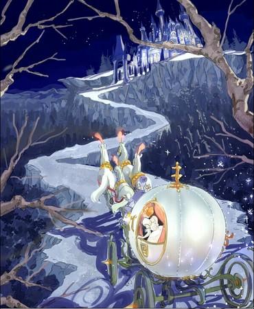 她将《灰姑娘》(cinderella)里,仙杜瑞拉坐在南瓜马车前往城堡的画面