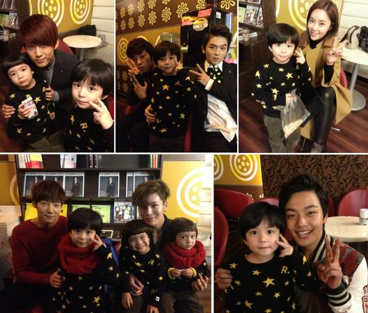 兄弟与众星的合照,三人圆滚滚的大眼,可爱的模样,连韩国艺人也抵挡不