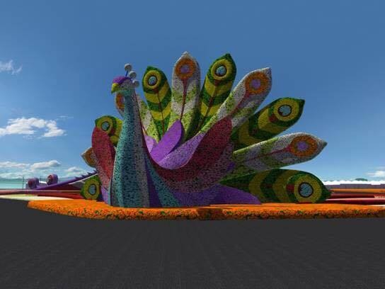 油菜及百日草等花卉设计孔雀主体,将全新视觉创意融入展区整体规划.图片