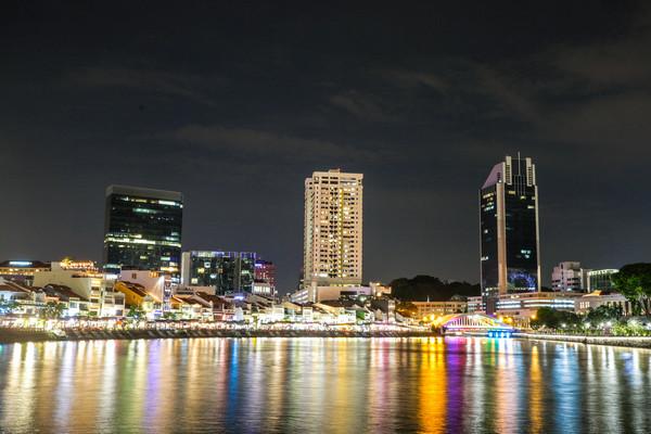 新加坡旅遊-濱海灣沿岸夜景、魚尾獅公園沿岸(圖/記者林世文攝)