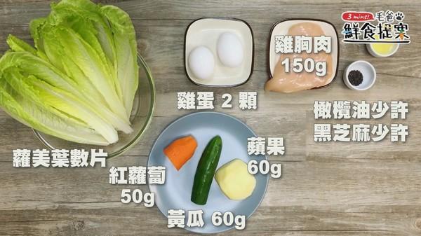 动手做狗狗清爽料理! 「嫩鸡彩蔬沙拉船」酸甜好滋味