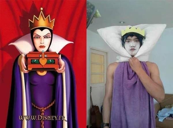 《 白雪公主》中的「坏皇后」,材料:白色枕头x1 +紫色浴巾x1+黄色纸