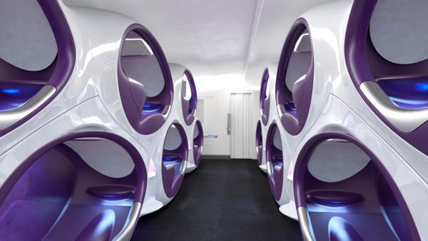 超酷!英公司设计可坐可卧蜂巢式飞机座椅概念