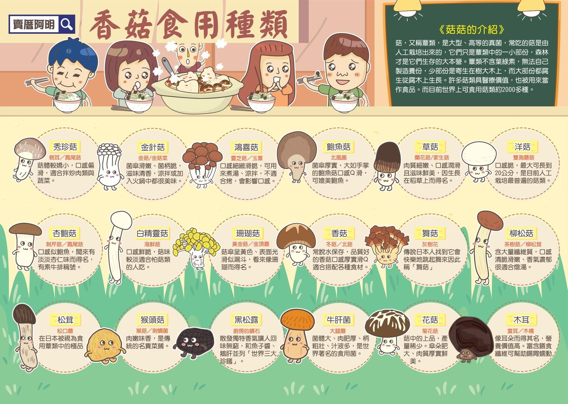 ▲▼18種菇菇種類。(圖/《我是阿明》提供)